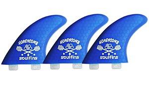 Triquilhas SH2 - Soul Fins Honeycomb Padrão FCS Grande Azul