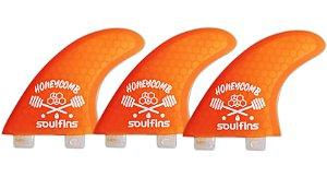 Triquilhas SH2 - Soul Fins Honeycomb Padrão FCS Grande Laranja