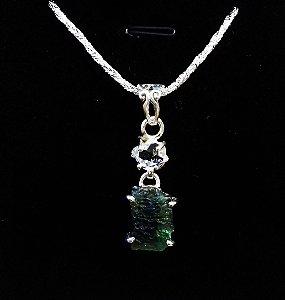 Moldavita Genuína Natural e Diamante Herkimer em Pingente de Prata Esterlina 925