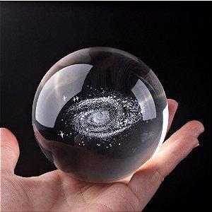 Galáxia 3D em Esfera de Cristal com Base de Cristal