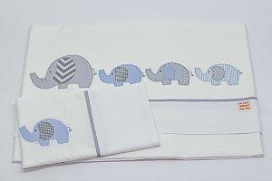 Jogo de Lençol Bordado - Elefante azul