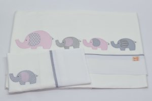 Jogo de Lençol Bordado - Elefante rosa