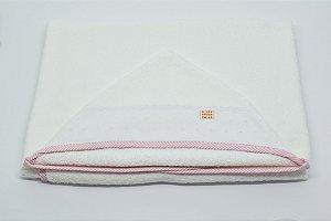 Toalha Capuz - Rosa listra