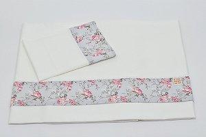 Jogo de Lençol sem Bordados  - Floral cinza