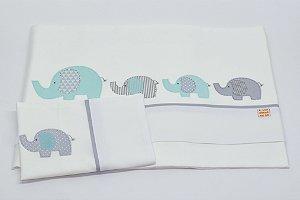 Jogo de Lençol Bordado - Elefante verde