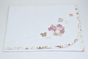 Manta Malha Bordada - Floral linho rosê