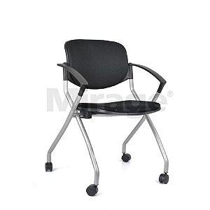 Cadeira Assento Rebatível Giratória Estrutura Cinza