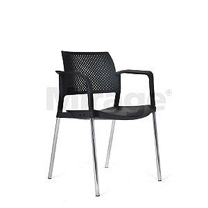 Cadeira Escritório Fixa New Secretária Cromada com Braço