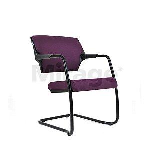 Cadeira Escritório Fixa Diretor Base Preta Estofada na cor Violeta