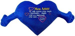 Coração Gigante com Frase Azul