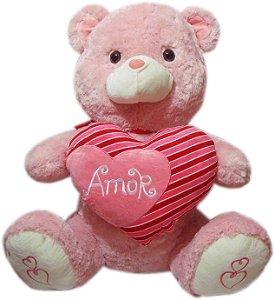 Urso Gigante Rosa Com Coração