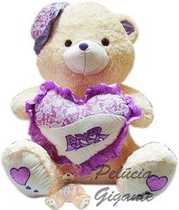 Urso com Chapéu e Coração Lilás