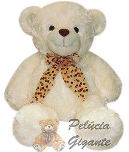 Urso Branco com Laço de Bolinhas