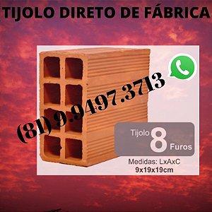 Tijolo 8 Furos direto de Fábrica tijolos de qualidade Abreu e Lima