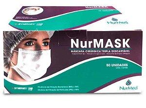 Máscara Tripla C/ Elástico Diversas Cores - Caixa C/ 50 Unid