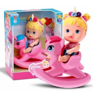Boneca Bebê Little Dolls Balancinho Unicórnio Divertoys