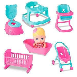 Boneca Bebê Little Dolls Casinha 6 Acessórios Divertoys