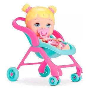 Boneca Little Dolls Passeio Carrinho Bebê Conforto Divertoys