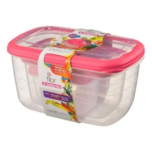 Kit Potes Plasticos Sanremo Retangular 3 Peças Rosa