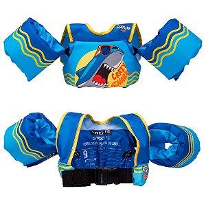 Colete Salva Vidas Infantil Boia Braço Tubarão Azul Prolife