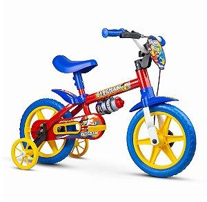 Bicicleta Infantil Vermelha Com Azul Aro 12 Fire Man Nathor