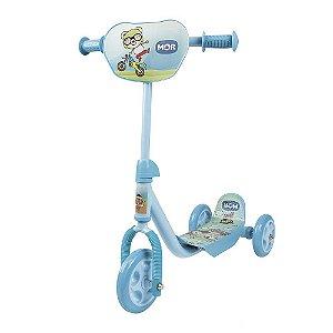 Patinete 3 Rodas Azul Decorado Infantil Até 30 Kg Mor