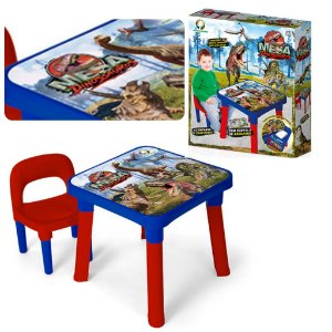 Mesinha Mesa Infantil Com Cadeira Dinossauro Didática