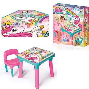Mesinha Mesa Infantil Com Cadeira Unicórnio Mágico