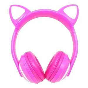 Fone Ouvido Orelha de Gato Ajustável Headphone Bluetooth Led