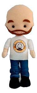 Boneco mascote do Clube dos Carecas Yul com barba