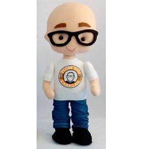 Boneco mascote do Clube dos Carecas Yul de óculos