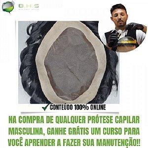 Prótese Capilar Fine Mono  (17,5 X 22,5 cm) #1B Castanho Escuro + Curso de Auto Manutenção