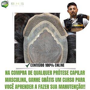 Prótese Capilar Parcial Apollo Híbrida ( 17,5 x 22,5cm ) #1B Castanho Escuro + Curso de Auto Manutenção Grátis
