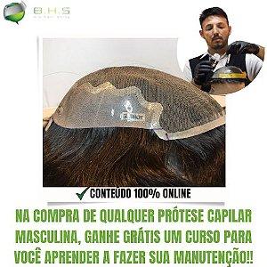 Prótese Capilar Parcial Q6 (17,5 X 22,5 cm) #1B Castanho Escuro + Curso de Auto Manutenção Grátis