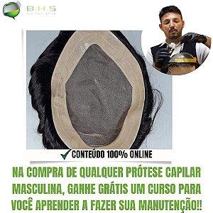 Prótese Capilar Mono Echo (15x22,5 cm) #1B Castanho Escuro + Curso de Auto Manutenção Grátis