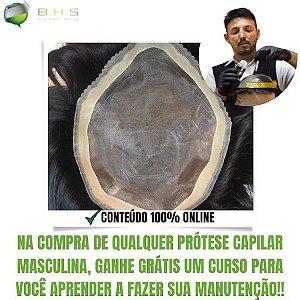 Prótese Capilar Mirage (20 x 25 cm) #1B Castanho Escuro + Curso de Auto Manutenção Grátis