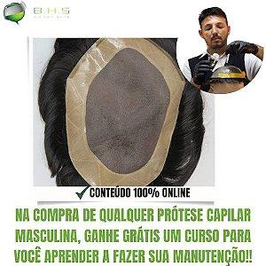 Prótese Capilar Mono Duro (20 x 25 cm) #1B Castanho Escuro + Curso de Auto Manutenção Grátis