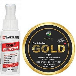 Kit De Manutenção Scalp Protector 60ml, Fita Adesiva Gold + 10m x 2.5cm