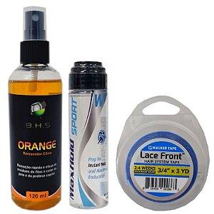 Kit Manutenção Removedor Orange 120ml, Max Hold Sport 41ml, Fita Adesiva Azul Lace Front 3 Yards x 1.9 cm