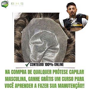 Prótese Capilar Thin Skin (20 x 25 cm) #2 Castanho Médio Com 30% de Grisalhos + Curso de Auto Manutenção Grátis