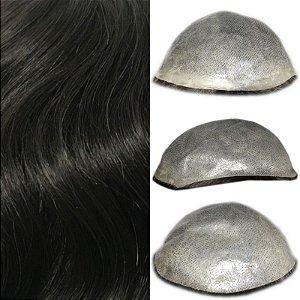 Prótese Capilar Thin Skin (20 x 25 cm) #1B Castanho Escuro + Curso de Auto Manutenção Grátis
