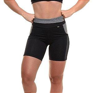 Shorts Com Proteção Solar Sandy Fitness Cross - Feminina - Preto e Cinza