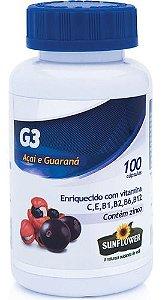 G3 Açaí + Guaraná 600mg 100 Cápsulas - Sunflower