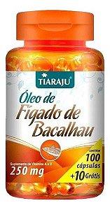 Óleo De Fígado De Bacalhau 250mg 110 Cápsulas - Tiaraju