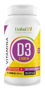 Vitamina D3 2000ui 400mg 60 Cápsulas - Linho Lev