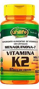 Vitamina K2 Menaquinona 65mcg 60 Cápsulas - Unilife