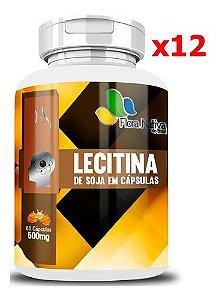 KIT 12 LECITINA DE SOJA 500MG 60 CAPSULAS - FLORA NATIVA