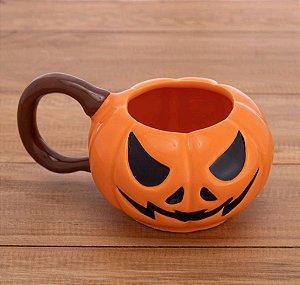 Caneca Cabeça Abóbora Decoração Dia Bruxas Halloween Terror