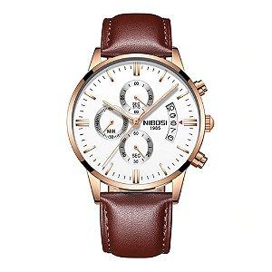Relógio Blindado NIBOSI Inox Pulseira Couro Funcional