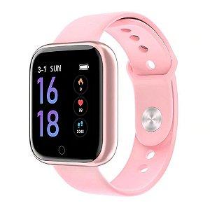 Relógio Eletrônico Smartwatch CF T80 - Rosa - Android e iOS